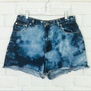 Calvin Klein Distressed Hi-Waist Denim Shorts